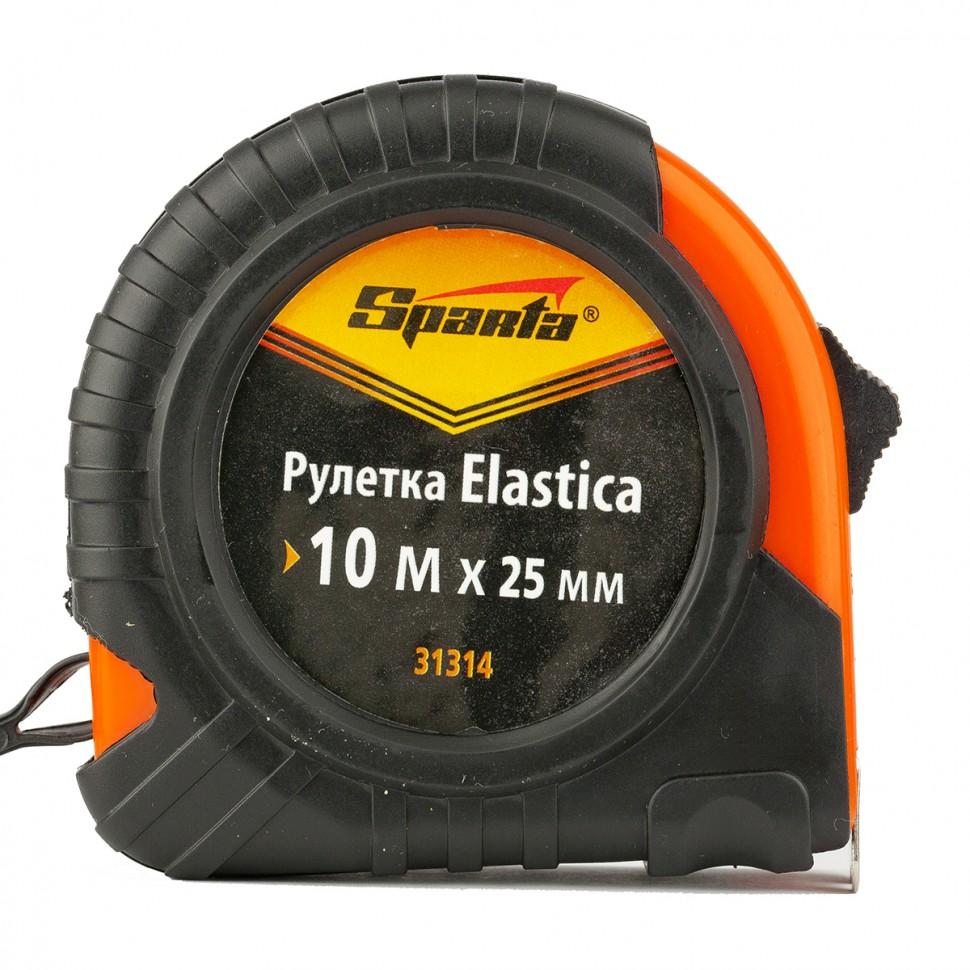 Рулетка Elastica, 10 м х 25 мм, обрезиненный корпус. SPARTA