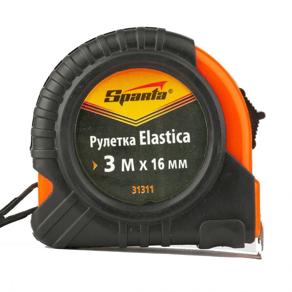 Рулетка Elastica, 3 м х 16 мм, обрезиненный корпус. SPARTA