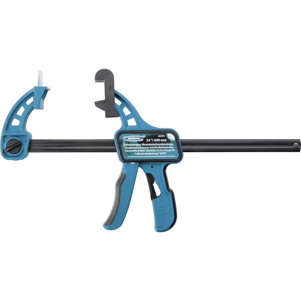 Струбцина реечная быстрозажимная 24, пистолетного типа, пошаговый механизм, пластиковый корпус, 600 мм. GROSS