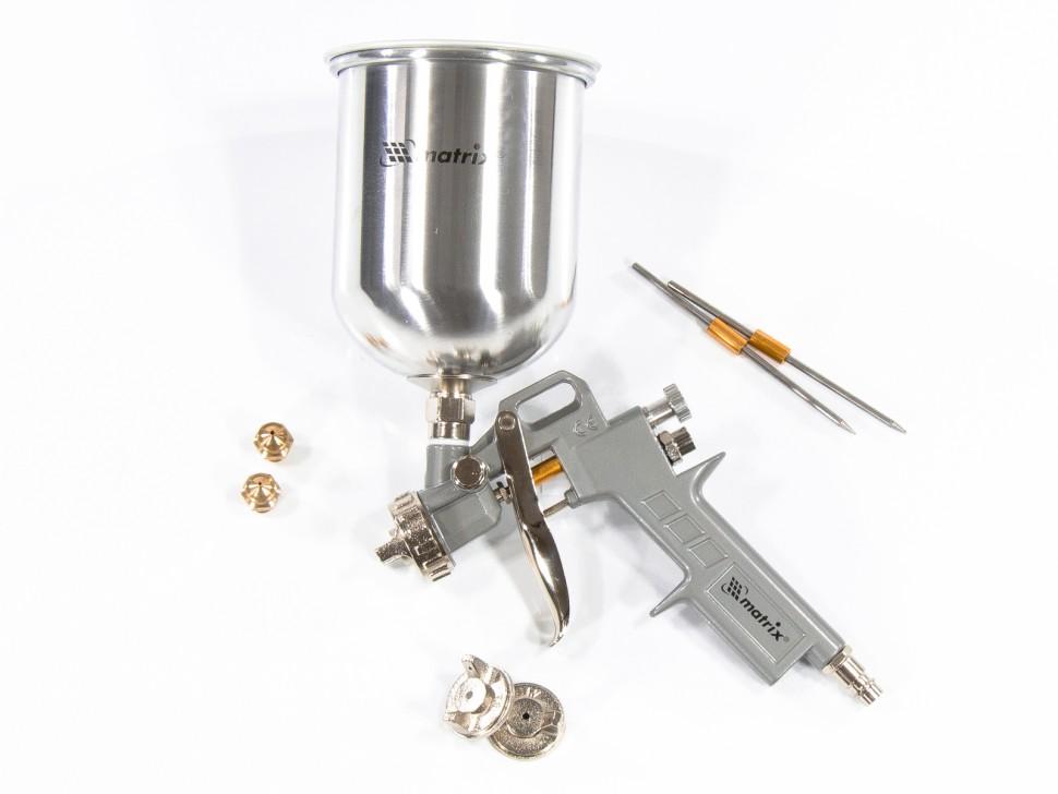 Краскораспылитель пневматический с верхним бачком V 1, 0 л, сопло D 1.2, 1.5 и 1.8 мм. MATRIX