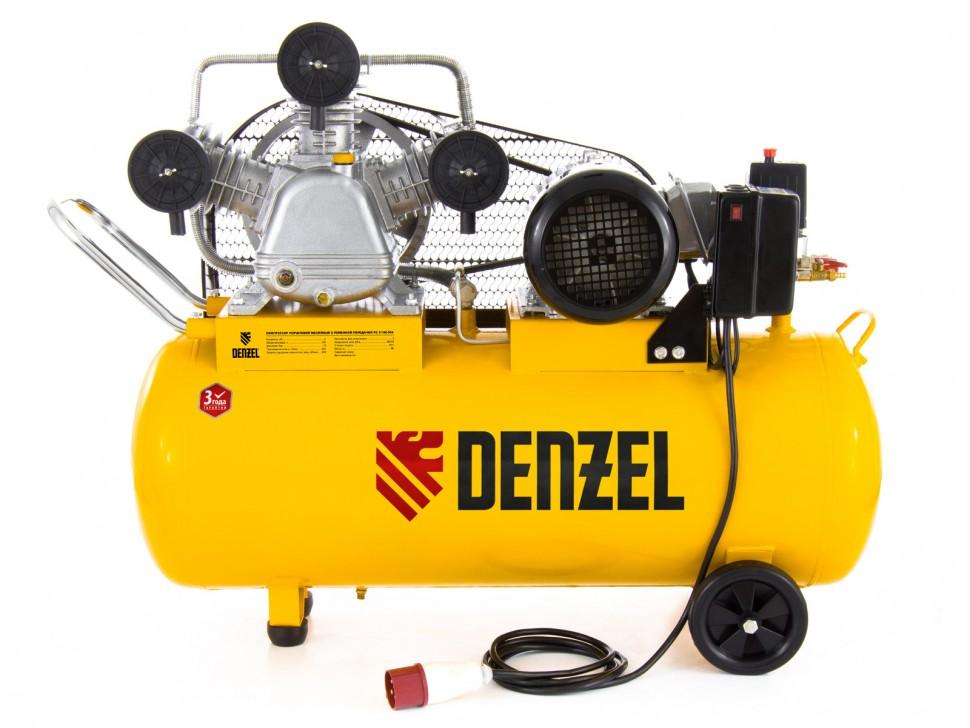 Компрессор масляный PC 3/100-504, ременный, производительность 504 л/м, мощность 3 кВт. DENZEL