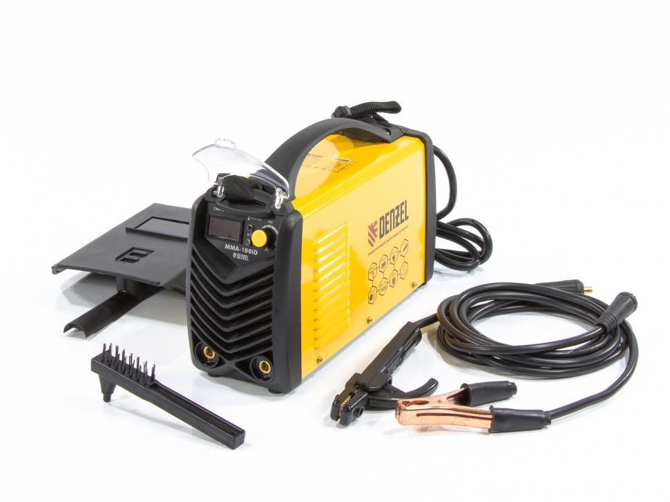 Аппарат инверторный дуговой сварки ММА-180ID, 180 А, ПВР 60%, диаметр электрода 1,6-4 мм, провод 2м. DENZEL
