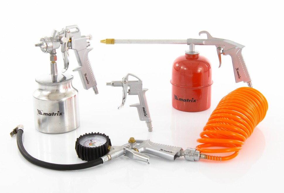 Набор пневмоинструмента, 5 предметов, быстросъемное соединение, краскораспылитель с верхним бачком MATRIX
