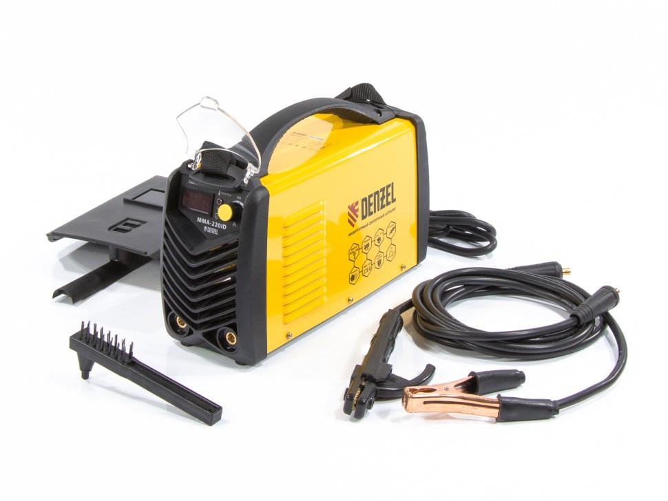 Аппарат инверторный дуговой сварки ММА-220ID, 220 А, ПВР 60%, диаметр электрода 1,6-5 мм, провод 2м. DENZEL