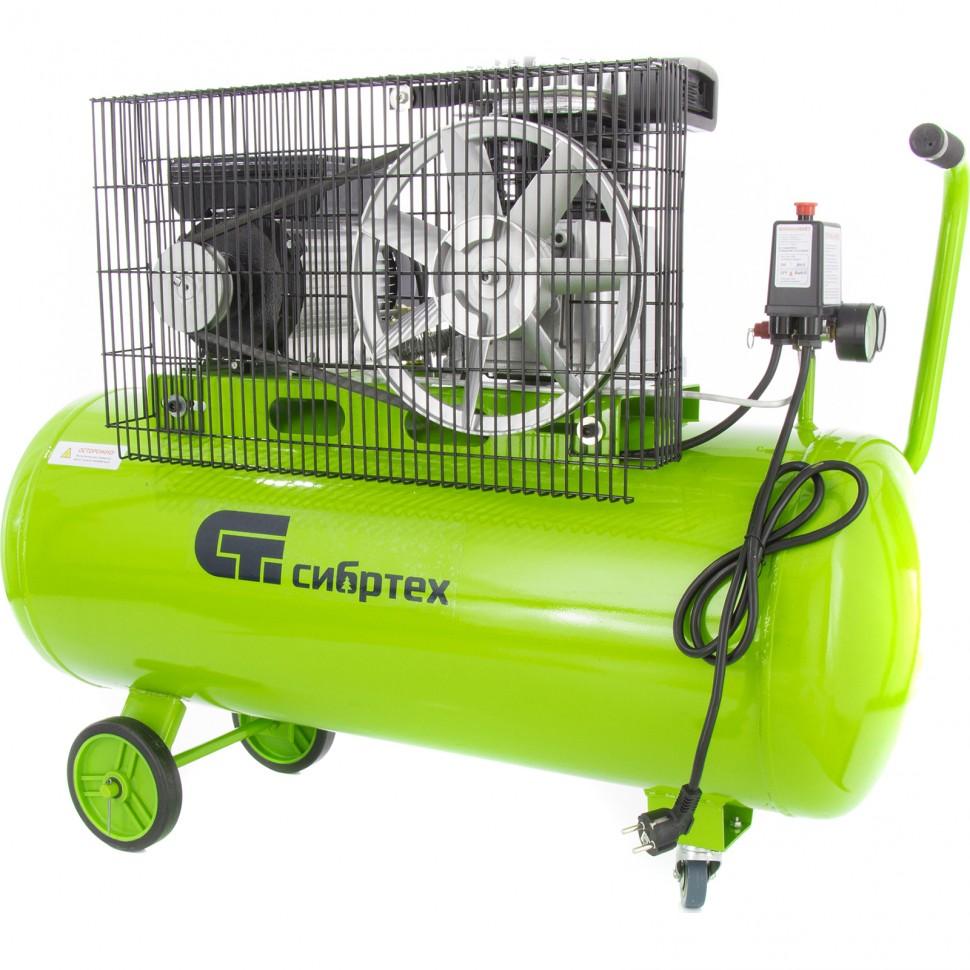Компрессор воздушный КР-2200/100, 2,2 кВт, 350 л/мин, 100 л, ременной привод, масляный. СИБРТЕХ