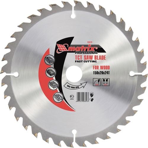 Пильный диск по дереву, 190 х 20 мм, 48 зубьев, кольцо 16/20 Matrix Professional