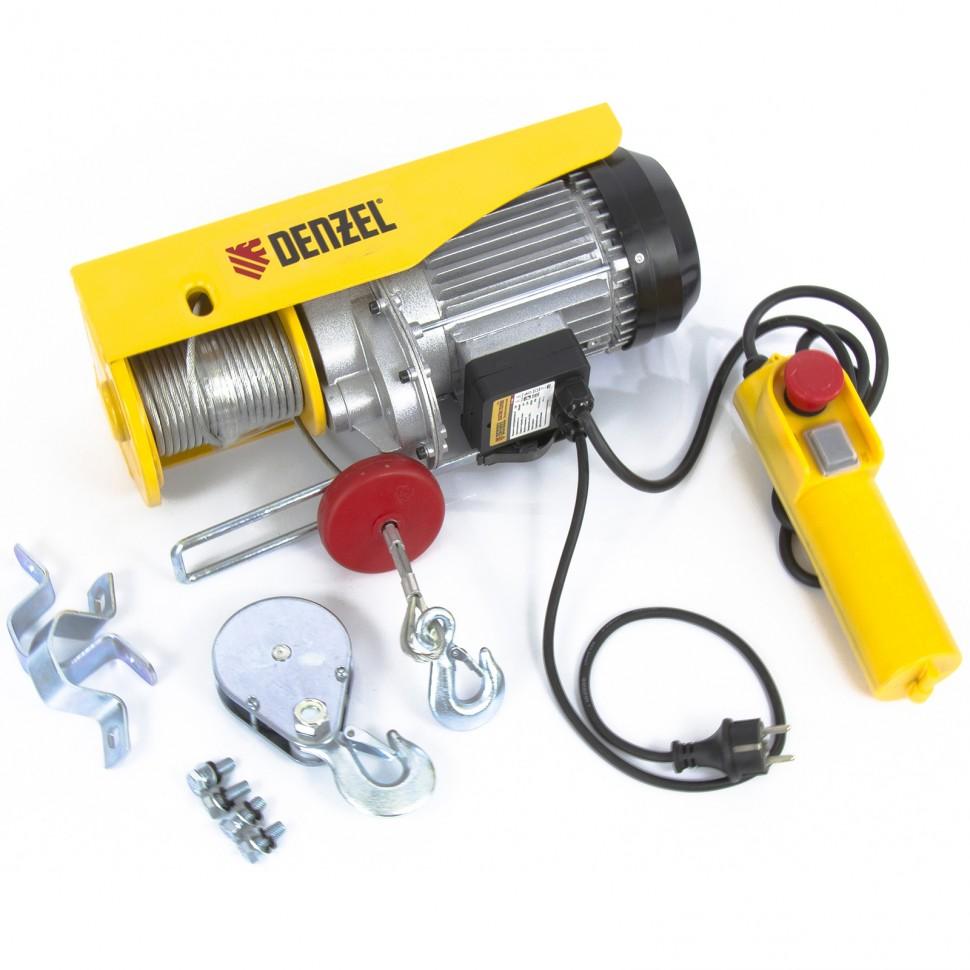 Тельфер электрический TF-800, 0.8 т, 1300 Вт, высота 12 м, 8 м/мин. DENZEL