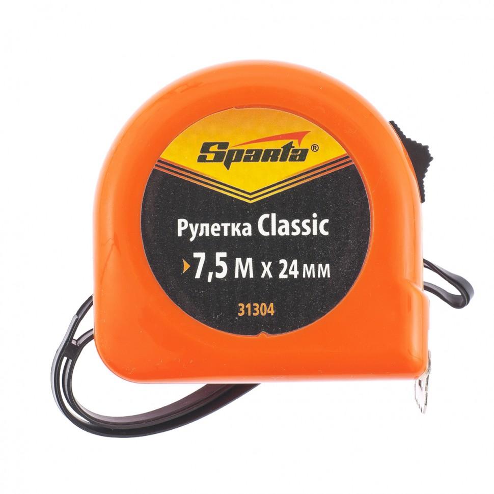 Рулетка Classic, 7.5 м х 24 мм, пластиковый корпус. SPARTA