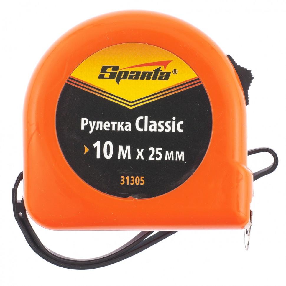 Рулетка Classic, 10 м х 25 мм, пластиковый корпус. SPARTA