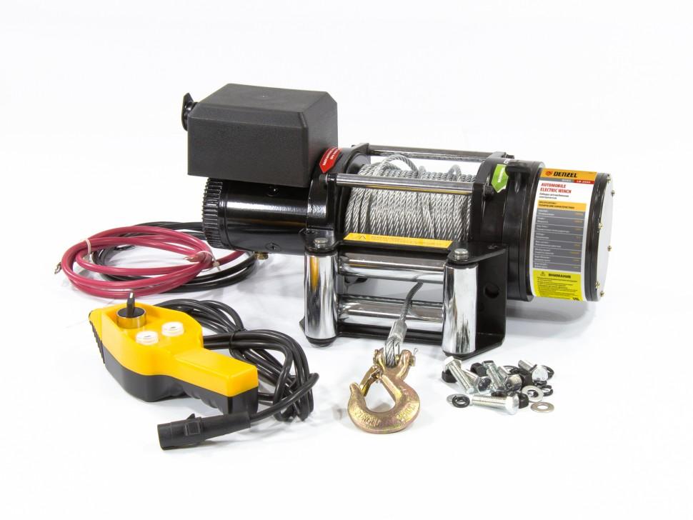 Лебедка автомобильная электрическая LB-2000, 2,2 т, 3,2 кВт, 12 В. DENZEL