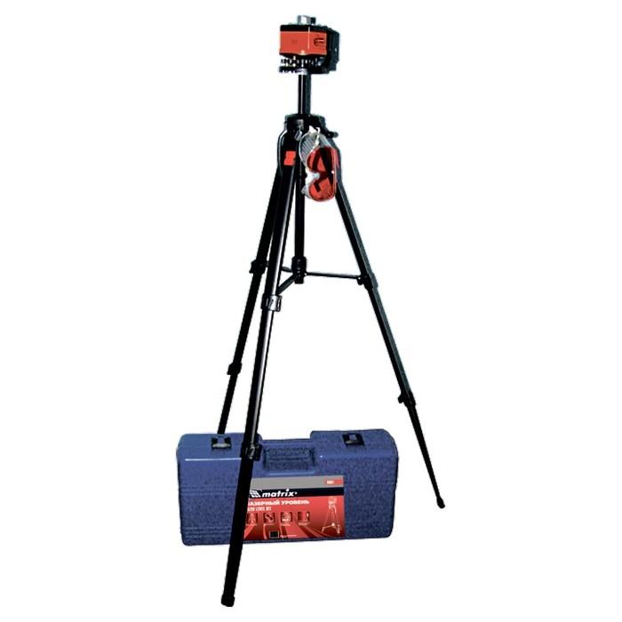 Уровень лазерный, 100 мм, штатив 1300 мм, крутящ. голова ротац, набор в пласт.кейсе. MATRIX MASTER