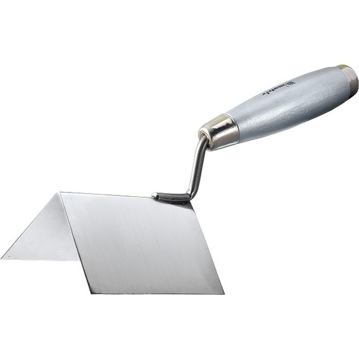 Мастерок из нержавеющей стали, 80 х 60 х 60 мм, для внешних углов, деревянная ручка. MATRIX