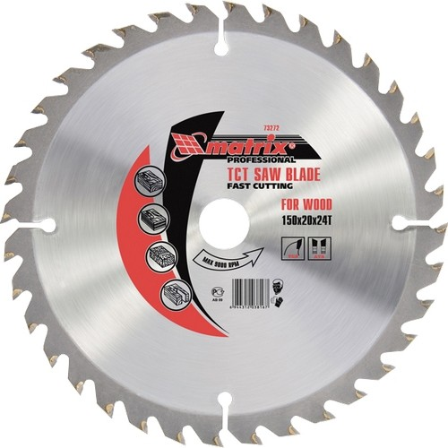 Пильный диск по дереву, 210 х 32 мм, 24 зуба, кольцо 30/32 Matrix Professional