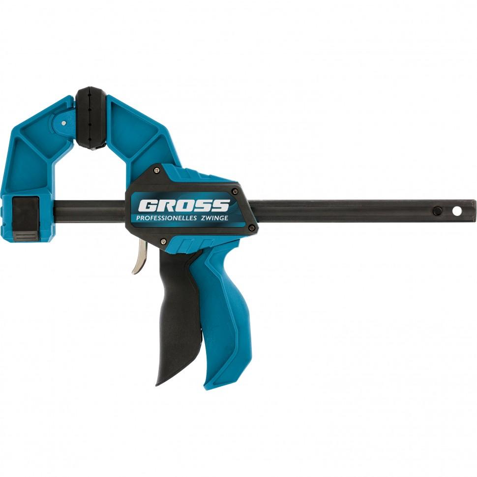 Струбцина реечная, быстрозажимная, пистолетного типа, пошаговый механизм, пластиковый корпус, 450мм. Gross