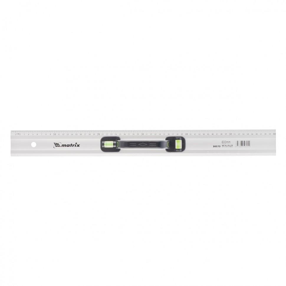 Линейка-уровень, 600 мм, металлическая, пластмассовая ручка 2 глазка. MATRIX MASTER