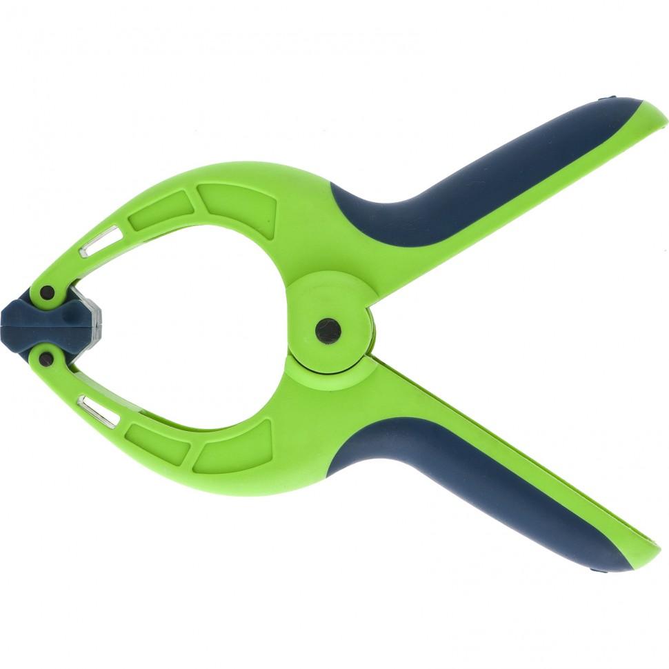 Струбцина клещеобразная 2-3/4, пластиковый корпус, двухкомпонентные рукоятки, усиленная пружина, 70 мм. СИБРТЕХ