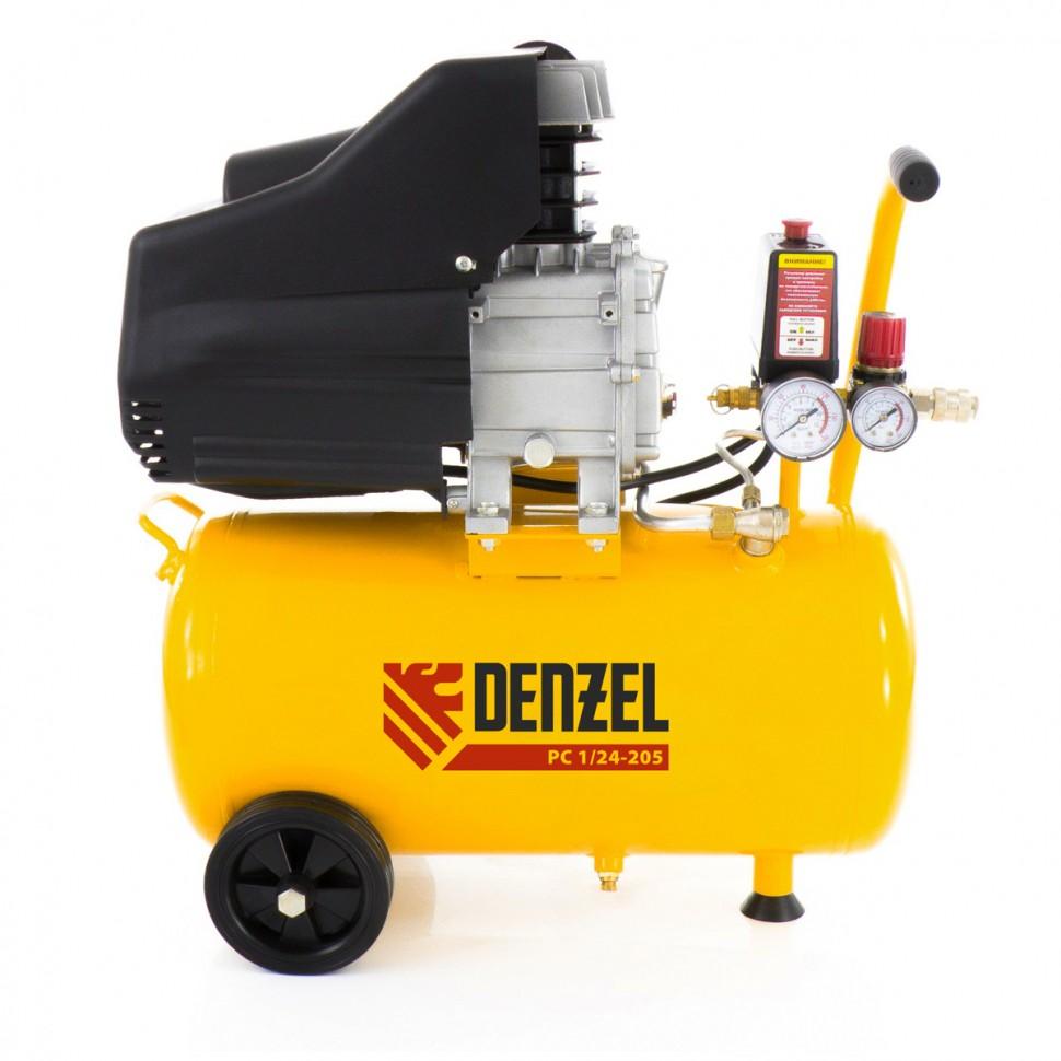 Компрессор пневматический, 1,5 кВт, 206 л/мин, 24 л. DENZEL