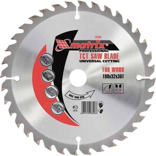 Пильный диск по дереву, 255 х 32 мм, 72 зуба, кольцо 30/32 Matrix Professional
