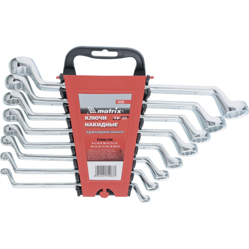 Набор ключей накидных, 6-22 мм, CR-V, 8 шт, полированный хром. MATRIX