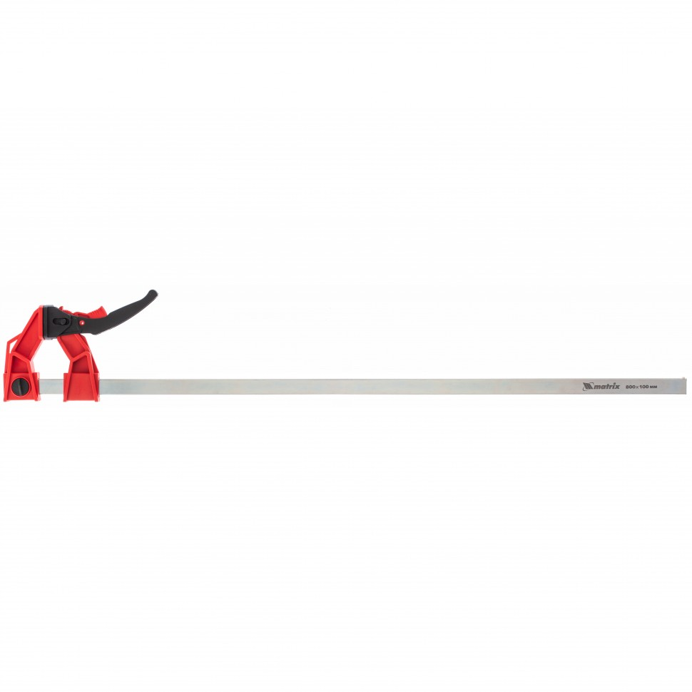 Струбцина реечная быстрозажимная, усиленная, пластиковый корпус рычажно-храповой механизм, 800 х 100 х 951 мм, штанга 5 х 22 мм. MATRIX