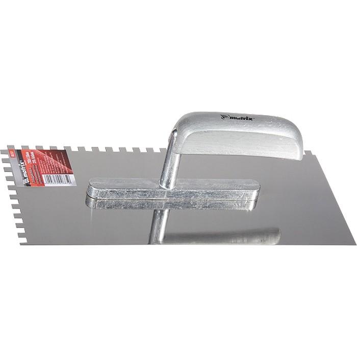 Гладилка из нержавеющей стали, 280 х 130 мм, деревянная ручка, зуб 6 х 6 мм. MATRIX