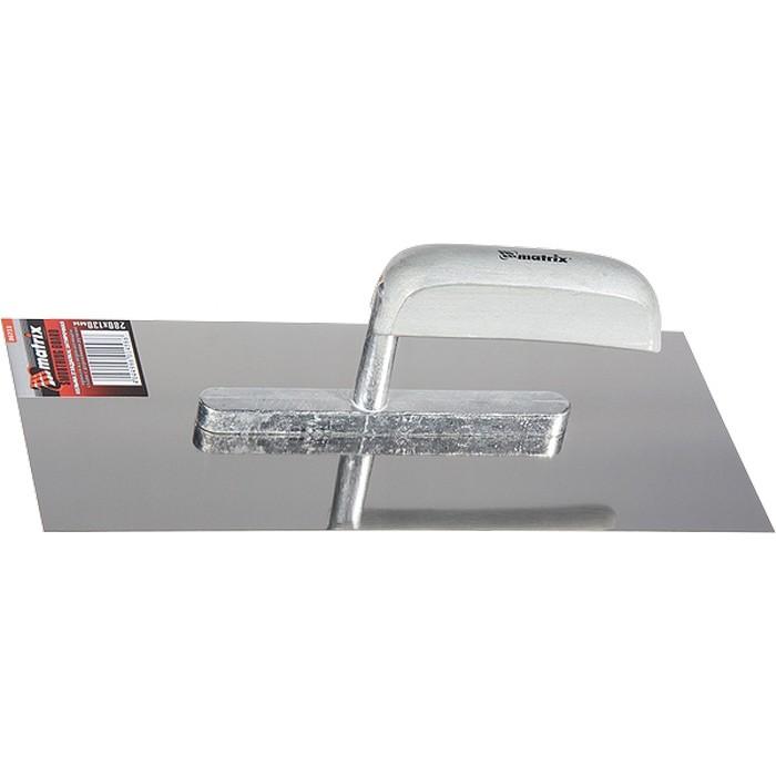Гладилка из нержавеющей стали, 280 х 130 мм, деревянная ручка. MATRIX