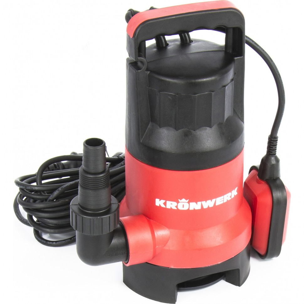 Дренажный насос для грязной воды KP800, 800 Вт, подъем 8 м, 13000 л/ч. KRONWERK