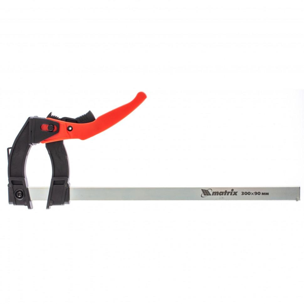 Струбцина реечная быстрозажимная, пластиковый корпус рычажно-храповой механизм, 300 х 90 х 390 мм, штанга 5 х 20 мм. MATRIX