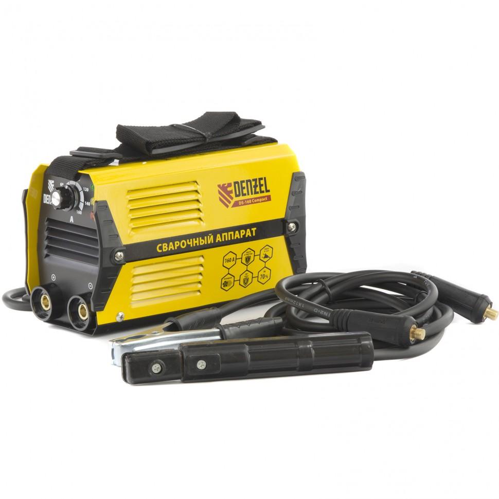 Аппарат инверторный дуговой сварки DS-160 Compact, 160 А, ПВ 70%, диаметр электрода 1,6-3,2 мм. DENZEL