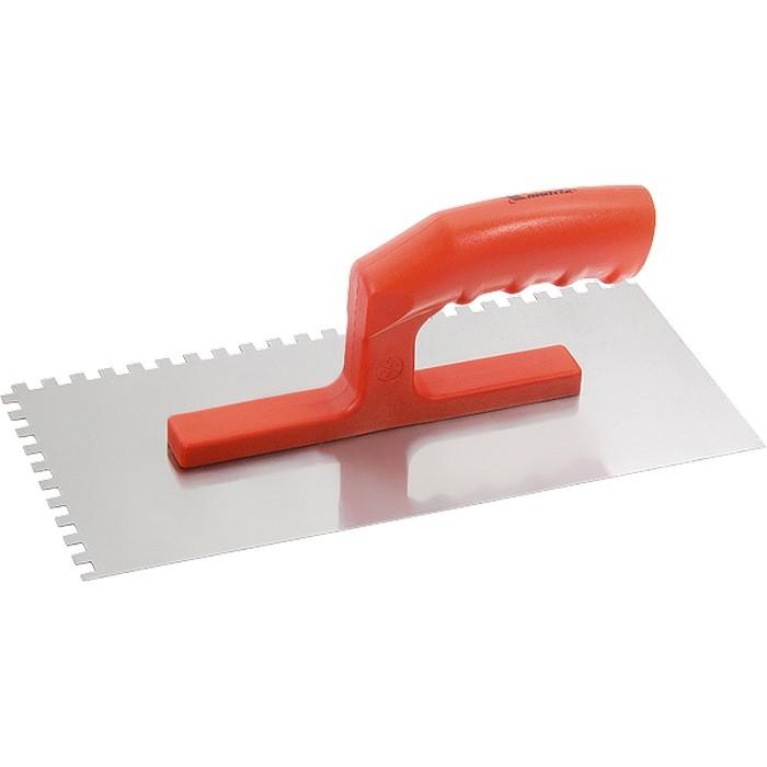 Гладилка стальная, 280 х 130 мм, зеркальная полировка, пластмассовая ручка, зуб 6 х 6 мм. MATRIX
