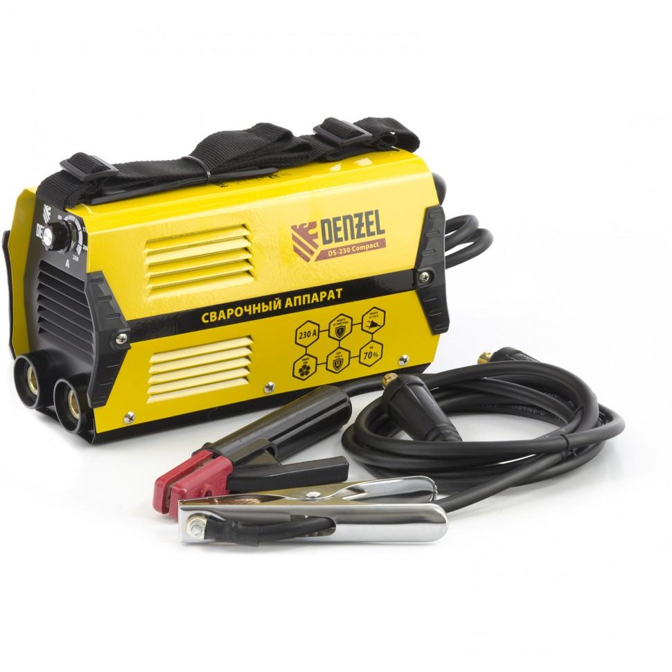 Аппарат инверторный дуговой сварки DS-230 Compact, 230 А, ПВ 70%, диаметр электрода 1,6-5 мм. DENZEL