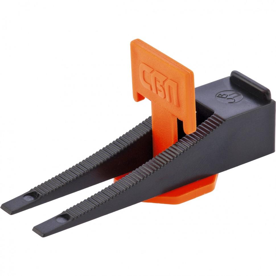Система выравнивания плитки СВП, Комплект: зажим, клин 40 х 40 шт, (пакет ПЭНД). СИБРТЕХ