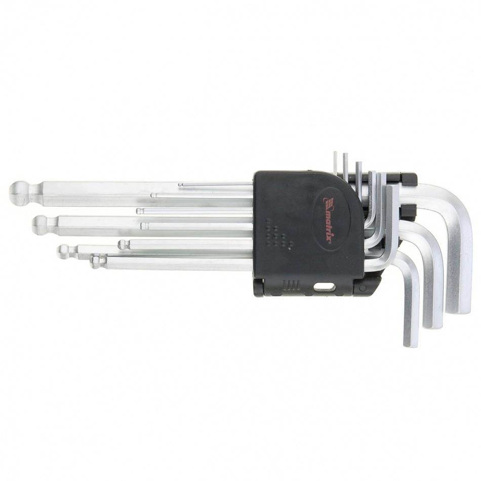 Набор ключей имбусовых HEX, 1,5-10 мм, CrV, 9 шт, удлиненные, сатин, с шаром. MATRIX