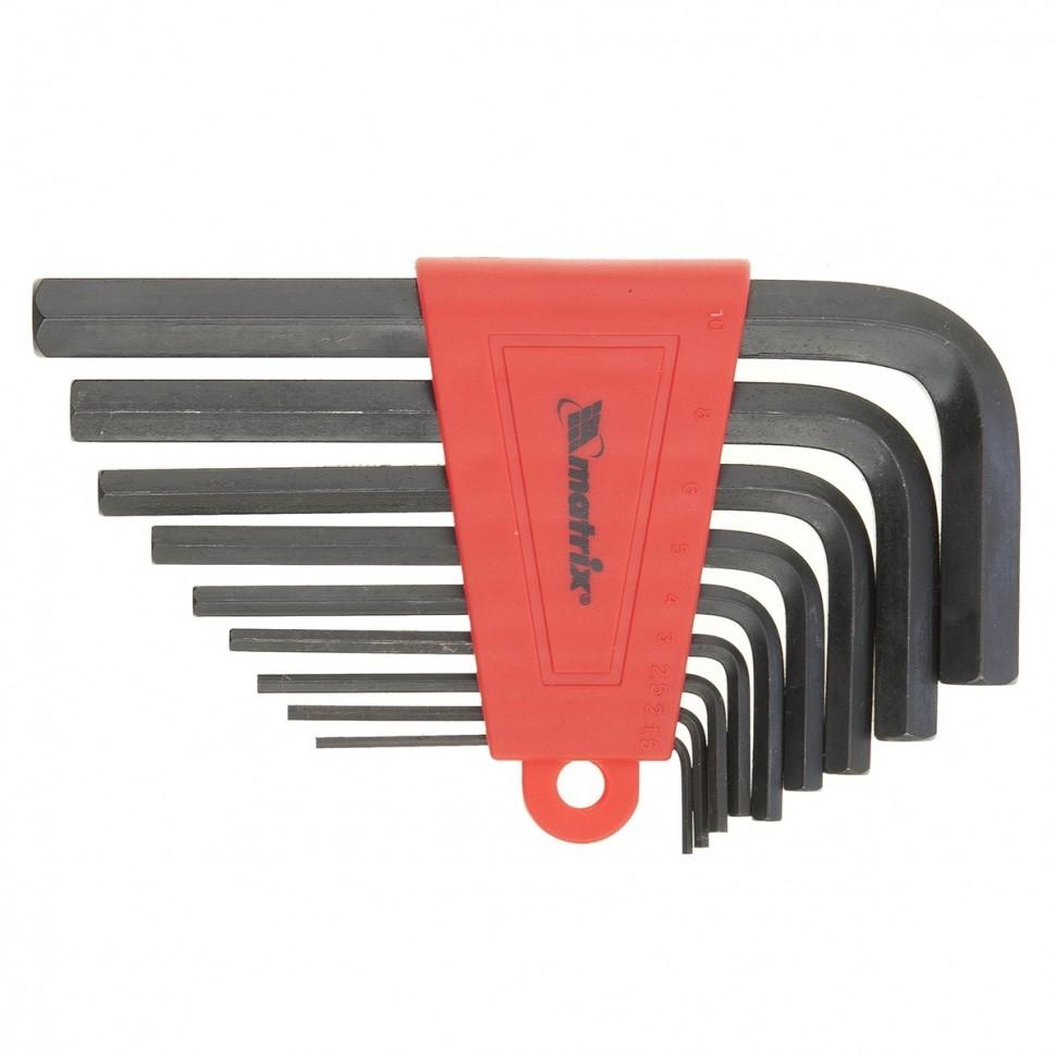 Набор ключей имбусовых HEX, 2,0-12 мм, CrV, 9 шт, удлиненные. MATRIX