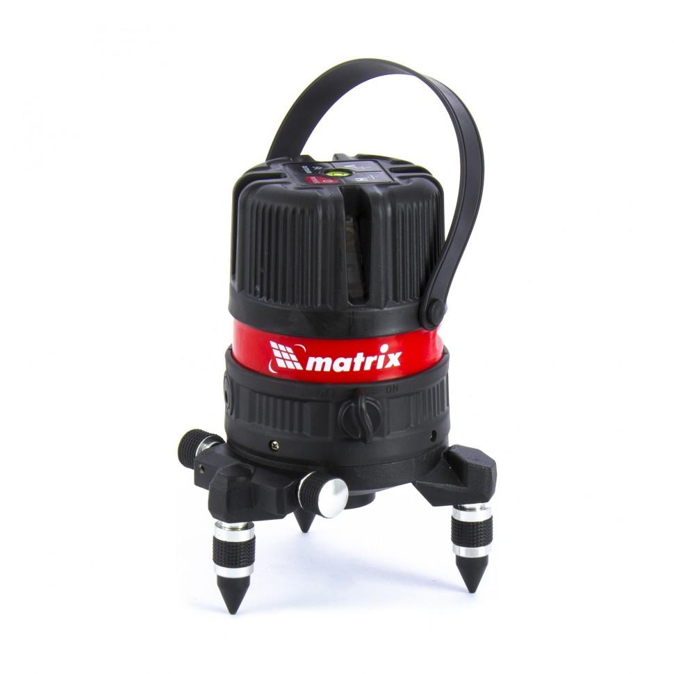 Уровень лазерный ML04P, 10м, ±0,3мм/1м, 635нм, 4 верт. 1 гор. пл, пыле-влаго. защ. корпус. MATRIX
