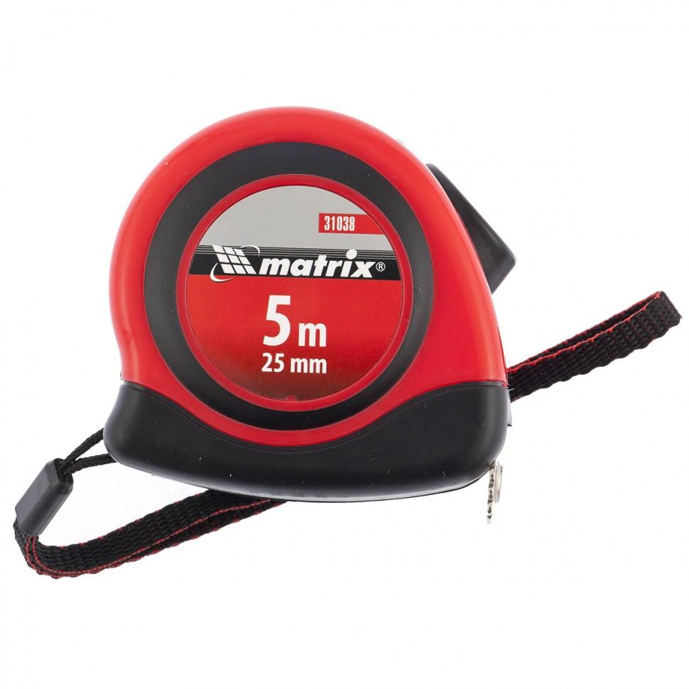 Рулетка Status autostop magnet, 5 м х 25 мм, двухкомпонентный корпус, зацеп с магнитом. MATRIX