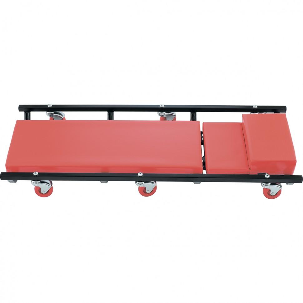 Лежак ремонтный на шести колесах, 1030 х 440 х 120 мм, поднимающийся подголовник. MATRIX