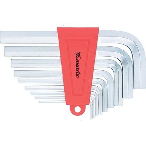 Набор ключей имбусовых HEX, 2-12 мм, CrV, 9 шт, удлиненные с сатинированным покрытием. MATRIX