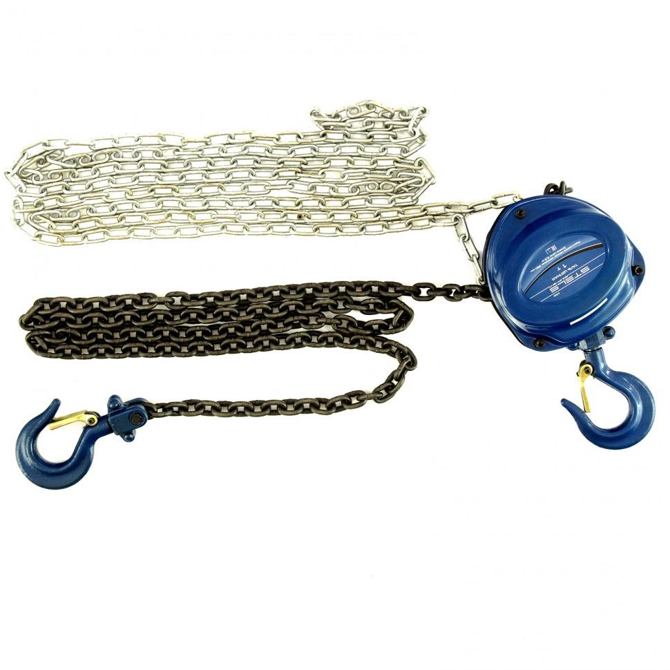 Таль цепная, 1 т, h подъема 2,5 м, расстояние между крюками 350 мм. Stels