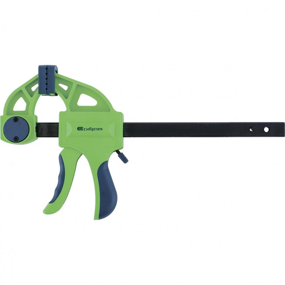 Струбцина F-образная, быстрозажимная, 300 х 70 х 540 мм, пластиковый корпус, фиксатор, двухкомпонентная рукоятка. СИБРТЕХ