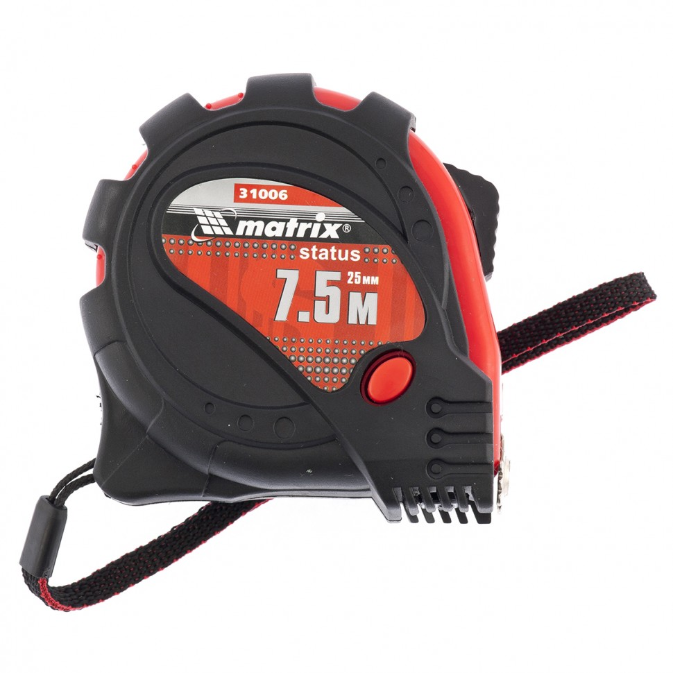 Рулетка Status magnet 3 fixations, 7,5 м х 25 мм, обрезиненный корпус, зацеп с магнитом. MATRIX