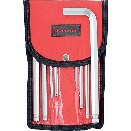 Набор ключей имбусовых HEX, 1,5-12 мм, CrV, 10 шт, удлиненных, шарообразный наконечник, с сатинированным покрытием, чехол. MATRIX