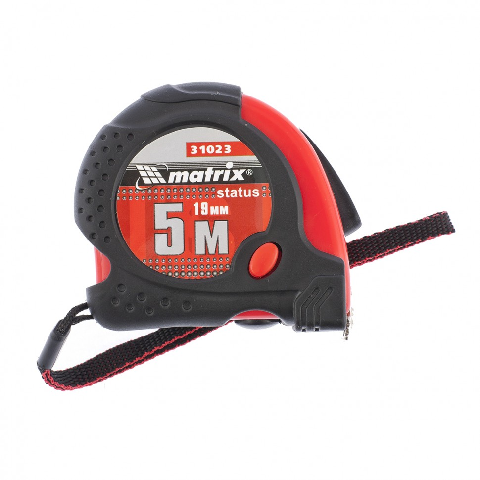Рулетка Status magnet fixation, 5 м х 19 мм, обрезиненный корпус, зацеп с магнитом. MATRIX
