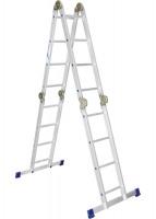 Лестница, 4 х 4 ступени, алюминиевая, шарнирная Pоссия