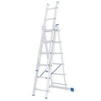 Лестница, 3 х 6 ступеней, алюминиевая, трехсекционная СИБРТЕХ Pоссия