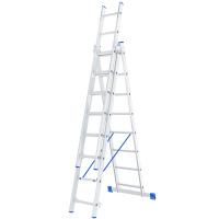 Лестница, 3 х 8 ступеней, алюминиевая, трехсекционная СИБРТЕХ Pоссия