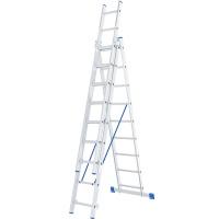 Лестница, 3 х 9 ступеней, алюминиевая, трехсекционная СИБРТЕХ Pоссия