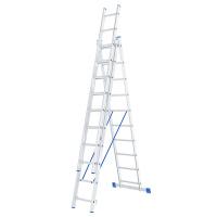 Лестница, 3 х 10 ступеней, алюминиевая, трехсекционная СИБРТЕХ Pоссия