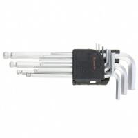Набор ключей имбусовых HEX, 1,5–10 мм, CrV, 9 шт., удлиненные, сатин., с шаром MATRIX
